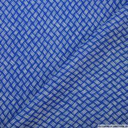 Tissu microfibre imprimé griffé bleu et blanc