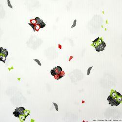 Piqué de coton imprimé chouette vert et rouge
