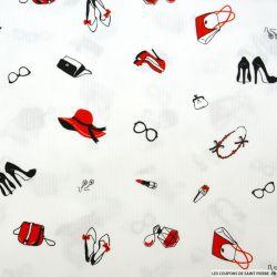 Piqué de coton imprimé accessoire femme rouge