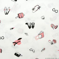Piqué de coton imprimé accessoire femme rose