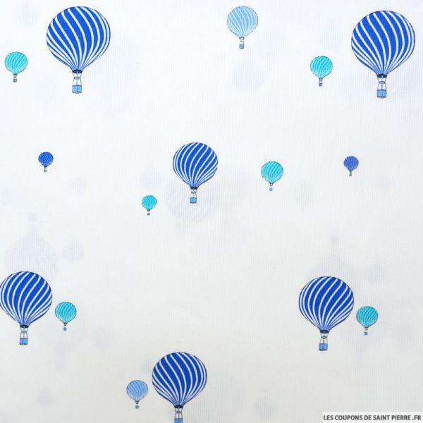 Piqué de coton imprimé montgolfière bleu