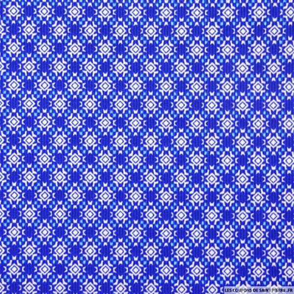 Piqué de coton imprimé mosaïque bleu