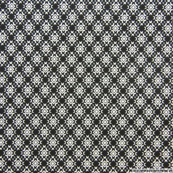 Piqué de coton imprimé mosaïque noir et gris