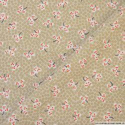 Tissu microfibre imprimé fleurs japonaises beiges