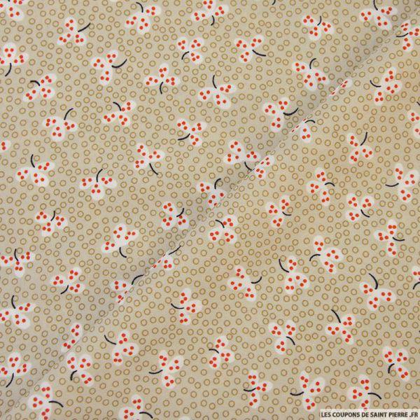 tissu microfibre imprim fleurs japonaises beiges coupons de saint pierre. Black Bedroom Furniture Sets. Home Design Ideas