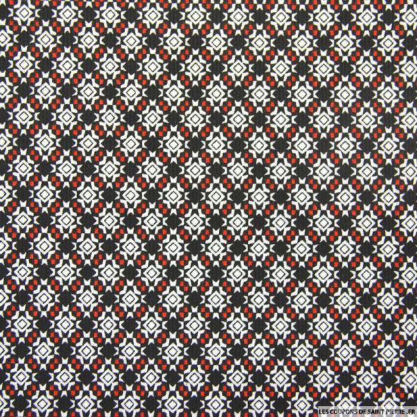 Piqué de coton imprimé mosaïque noir et rouge