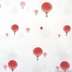 Piqué de coton imprimé montgolfière rouge