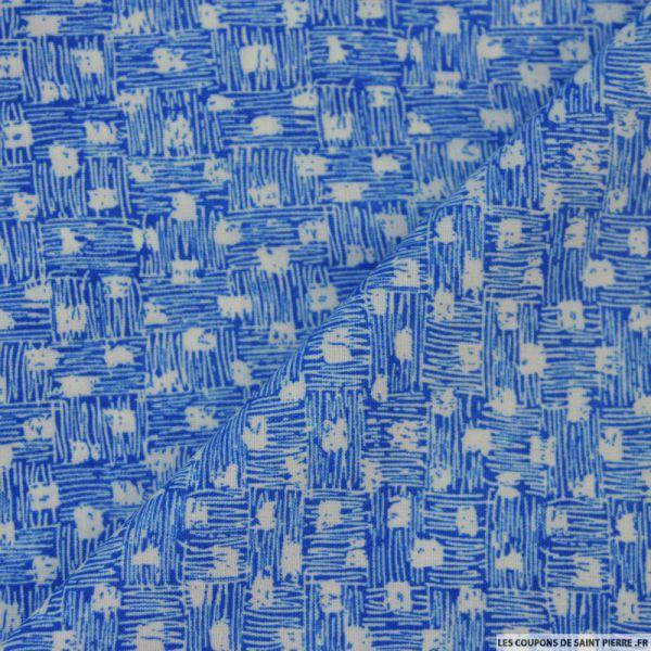 Tissu microfibre imprimé panier bleu