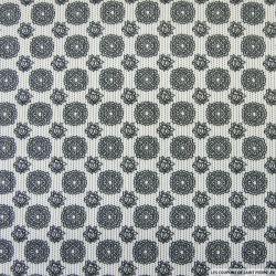 Coton imprimé Rosaces noires fond blanc