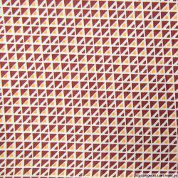 Polycoton imprimé géométrique bordeaux