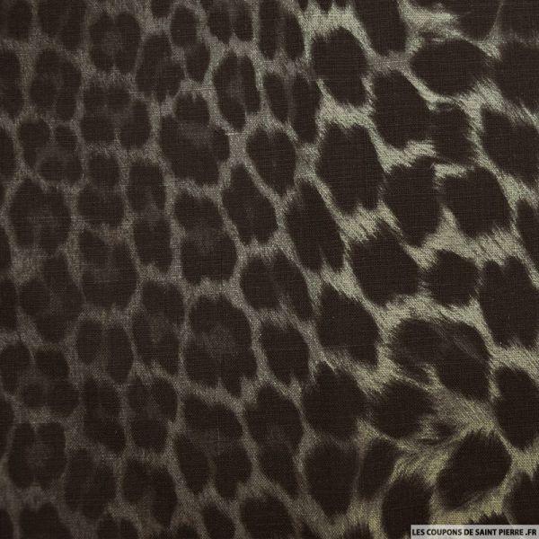 tissus lin imprim l opard coupons de saint pierre. Black Bedroom Furniture Sets. Home Design Ideas
