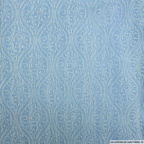 Jean's elasthanne imprimé fresque bleu clair