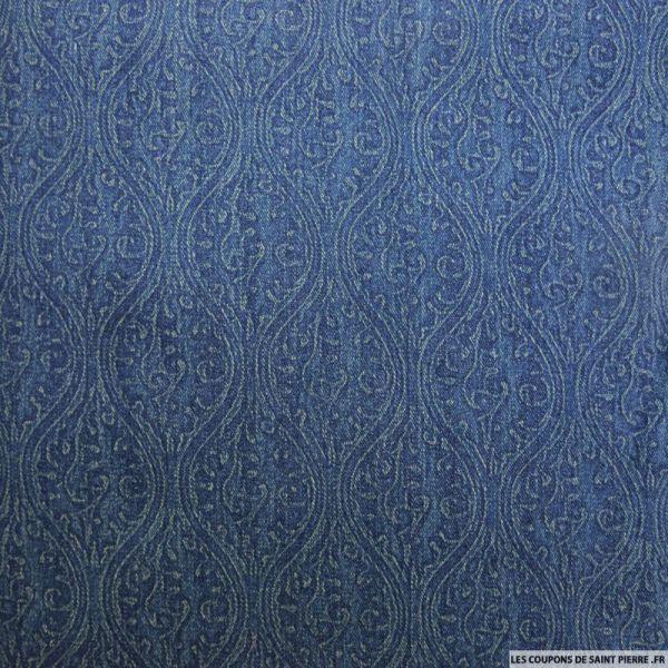 Jean's elasthanne imprimé fresque bleu foncé