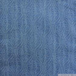 Jean's elasthanne imprimé fresque bleu