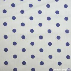 Coton imprimé pois violet fond blanc