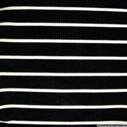 Maille de coton rayé noir et écru