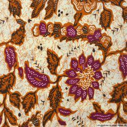 Polycoton imprimé fleurs et oiseau violet et caramel