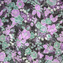 Mousseline de Soie imprimée fleurs violet fond noir