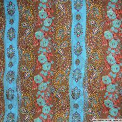 Mousseline de Soie imprimée frise cachemire bleu et marron