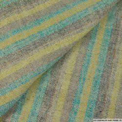Bourrette de soie rayée jaune et turquoise