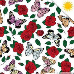 Jersey de coton couleur magique rose et papillon vendu au mètre