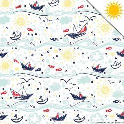 Jersey de coton couleur magique petits bateaux vendu au mètre