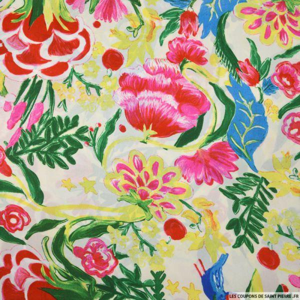 Satin polyester imprimé tableau bucolique fond écru