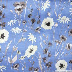 Satin polyester imprimé champêtre fond bleuet