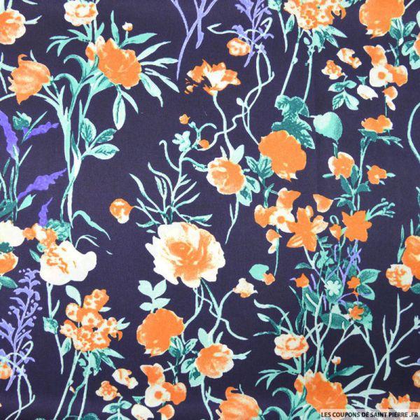 Satin polyester imprimé fleurs des champs orange fond marine
