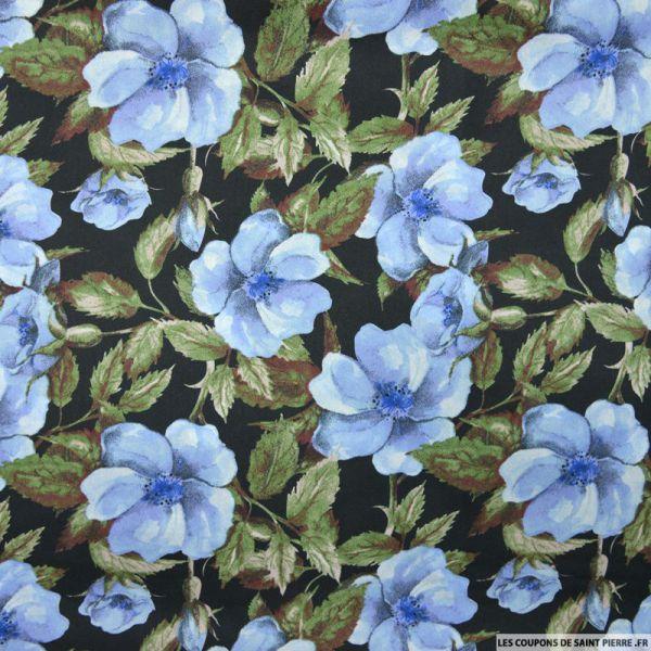 Satin polyester imprimé fleurs vintage bleu fond noir