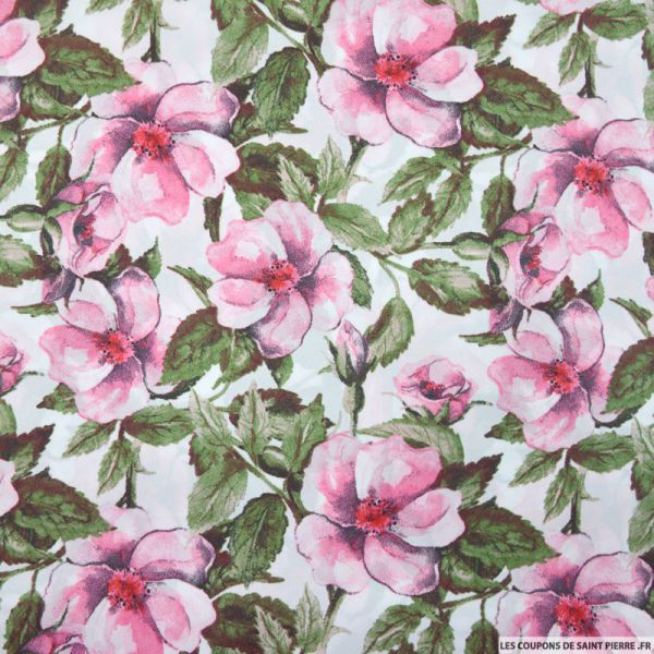 Satin polyester imprimé fleurs vintage rose fond blanc
