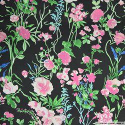 Satin polyester imprimé fleurs des champs rose fond noir