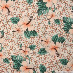 Satin polyester imprimé Hawaï fond écru