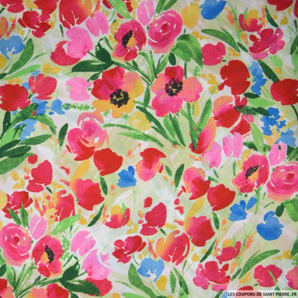 Satin polyester imprimé aquarelle tulipe rose fond blanc