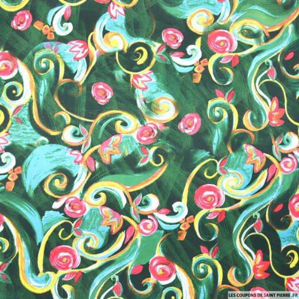Satin polyester imprimé fleurs arabesque fond vert