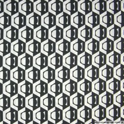 Satin polyester imprimé hexagone noir et blanc