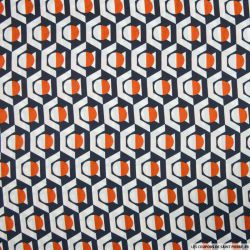 Satin polyester imprimé hexagone marine et orange