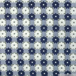Satin polyester imprimé marguerite graphique marine