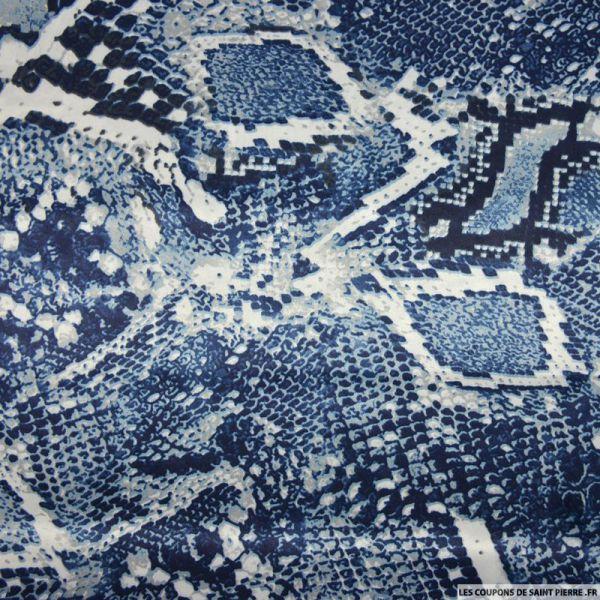 Satin polyester imprimé serpent bleu