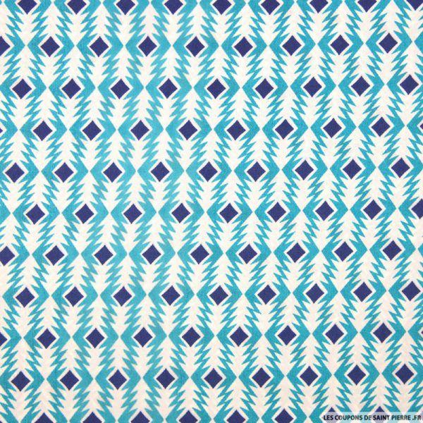 Satin polyester imprimé flèche graphique turquoise