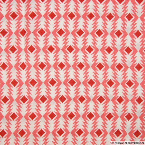 Satin polyester imprimé flèche graphique corail