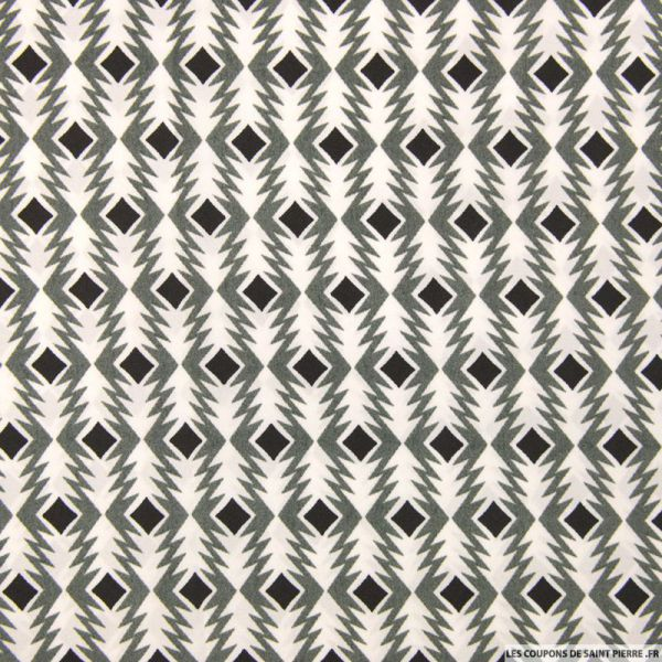 Satin polyester imprimé flèche graphique gris