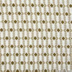 Satin polyester imprimé flèche graphique marron