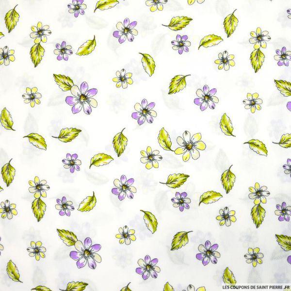 Crépon de polyester petites fleurs fond blanc