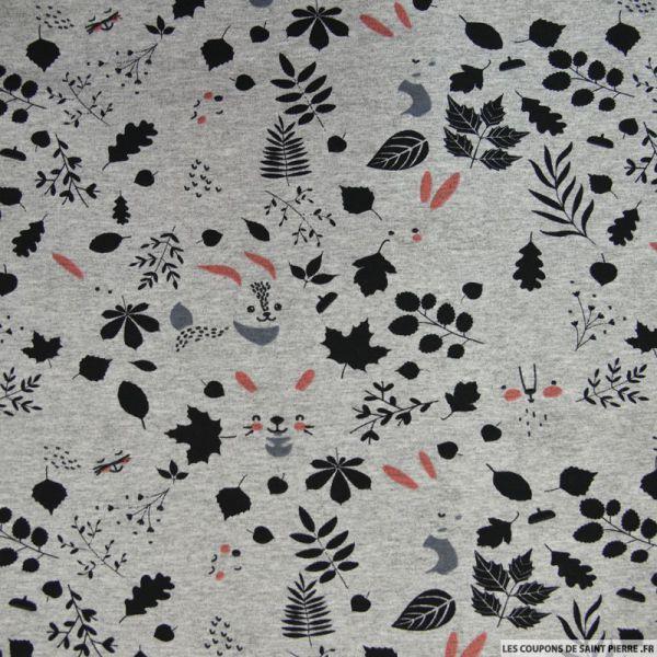 Jersey de viscose animaux de la forêt fond gris