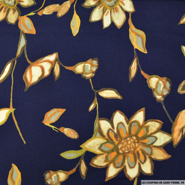 Crêpe viscose marine imprimé fleurs