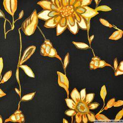 Crêpe viscose noir imprimé fleurs
