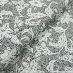 Jacquard viscose fleurs gris et noir