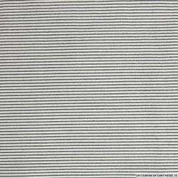 Ottoman polyester rayé noir et blanc cassé