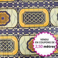 Wax africain tressage orange et violet, vendu en coupon de 2,50 mètres